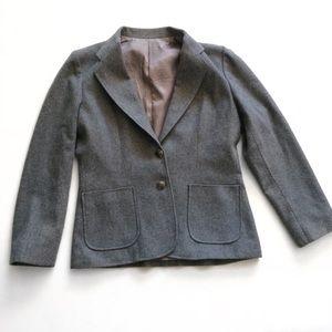 Oscar De La Renta Wool-Blend Grey Blazer